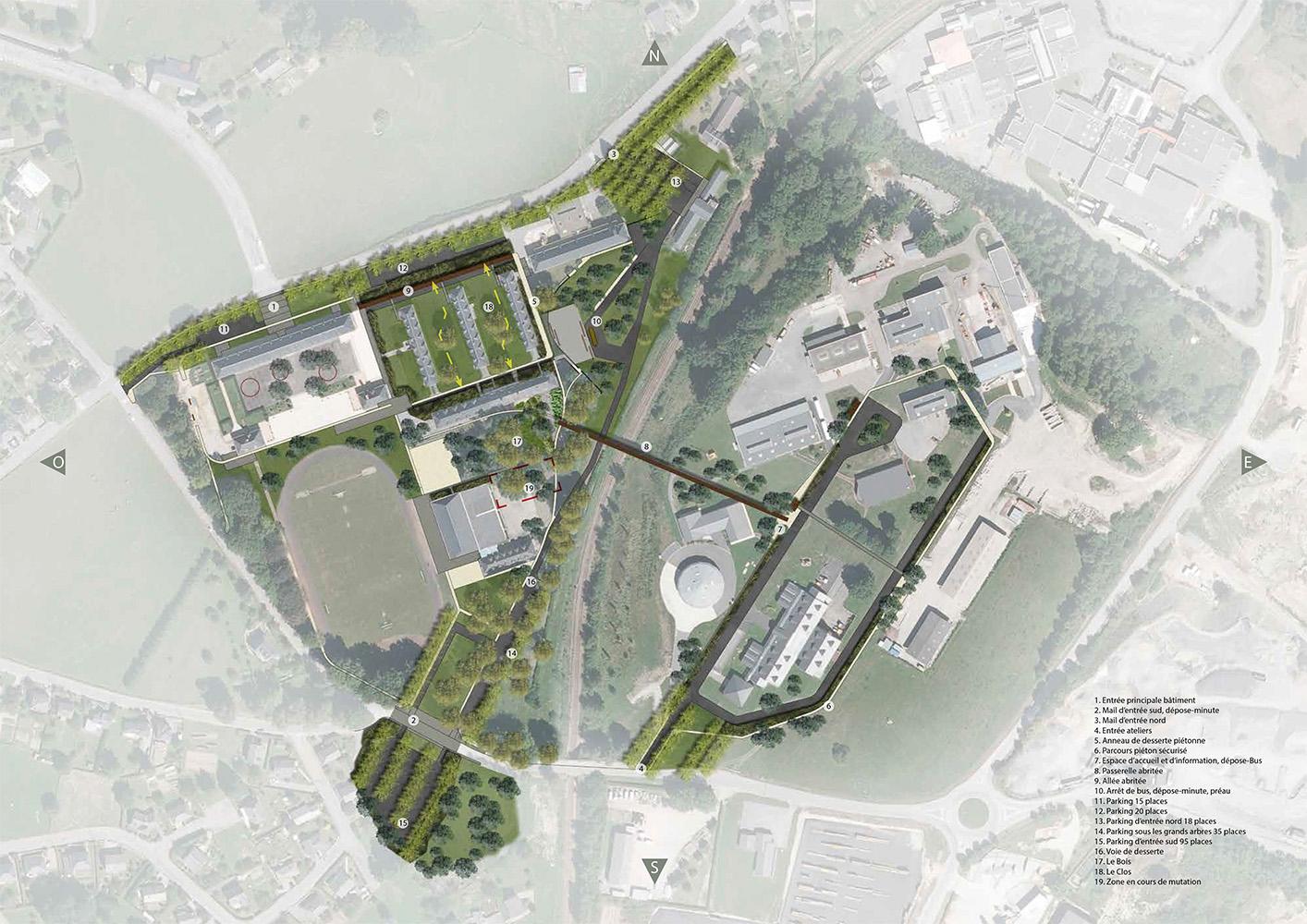Les vues les façades urbaines les accès et les cheminements sont redéfinis dans lobjectif de mettre en valeur le patrimoine du site et de répondre aux